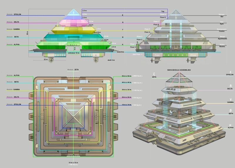 Yüzen piramit şehir kendi yiyeceğini, suyunu ve elektriğini üretiyor